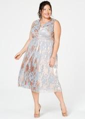 Adrianna Papell Plus Size Metallic A-Line Dress