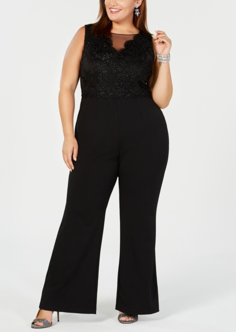 85f62f8bee1c5d Adrianna Papell Adrianna Papell Plus Size Metallic Lace Jumpsuit ...