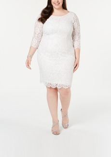 Adrianna Papell Plus Size Metallic Lace Sheath Dress