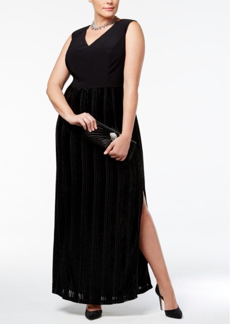 Plus Size Metallic Velvet Jersey Column Gown
