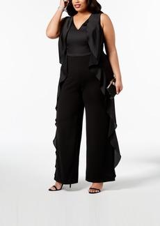 Adrianna Papell Plus Size Ruffle-Trim Jumpsuit