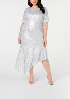 Adrianna Papell Plus Size Sequined Asymmetrical Midi Dress