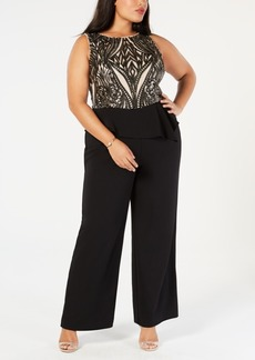 Adrianna Papell Plus Size Sequined Peplum Jumpsuit