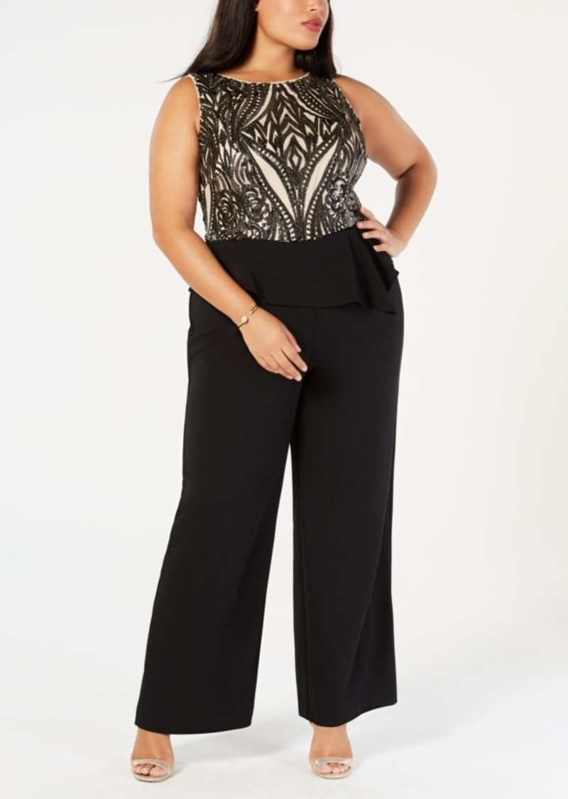 1af4ae266051 Adrianna Papell Adrianna Papell Plus Size Sequined Peplum Jumpsuit ...