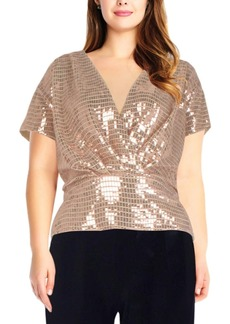 Adrianna Papell Plus Size Sequinned Top