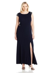 Adrianna Papell Plus Size Women's Cap Sleeve Knit Crepe Mermaid Gown
