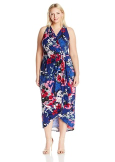 Adrianna Papell Plus Size Women's Halter Neck High/Low Wrap Dress  3X