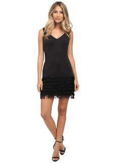 Adrianna Papell Ponte and Shift Fringe Dress