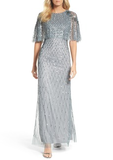 Adrianna Papell Popover Bodice Beaded Gown