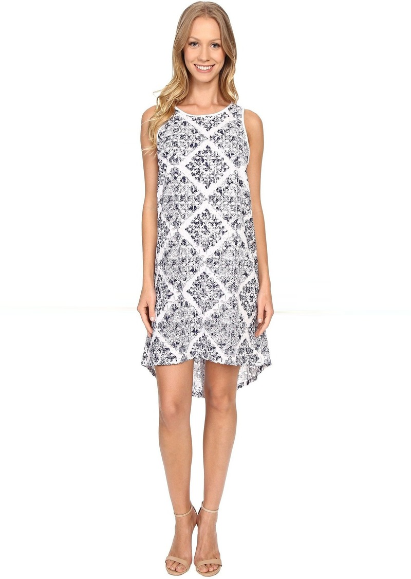 Adrianna Papell Print Embroidered Eyelet Dress