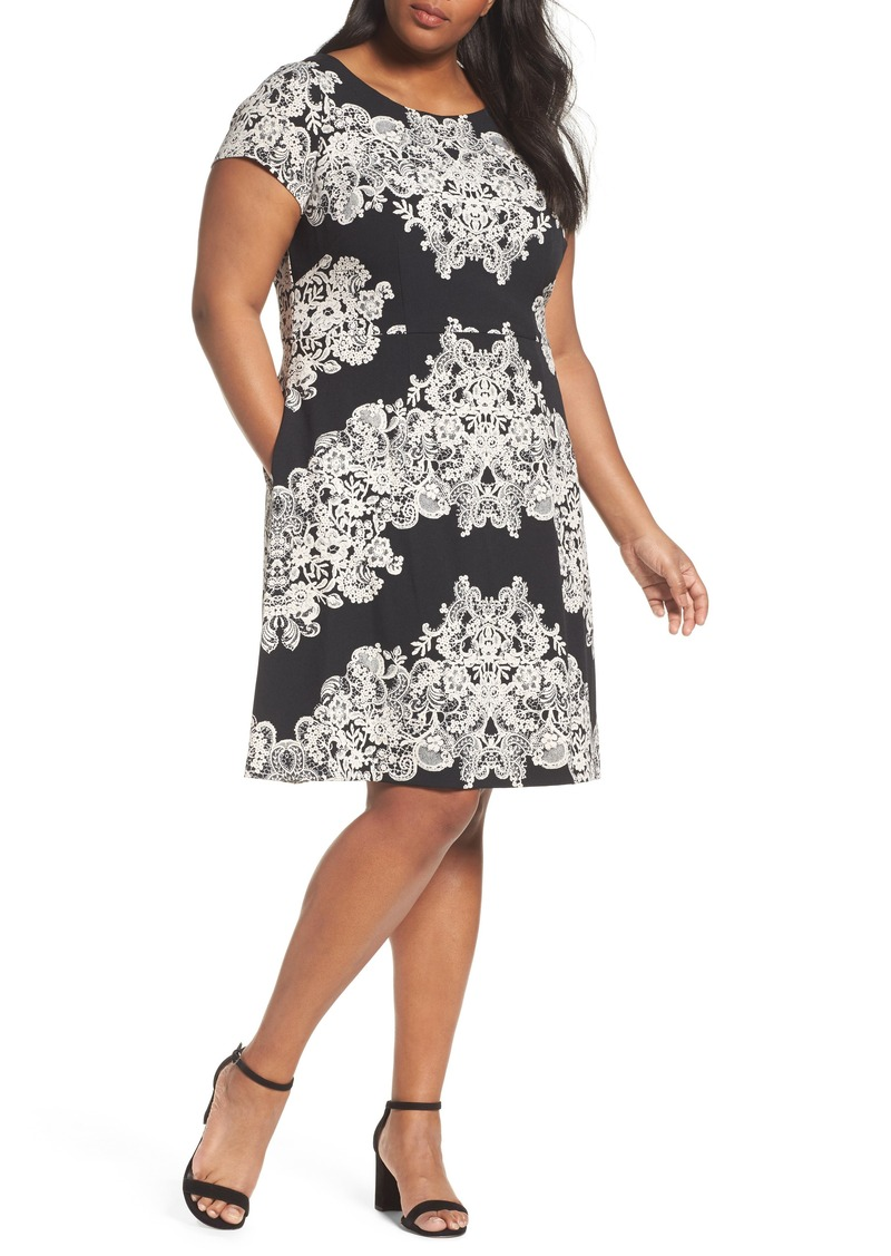 Adrianna Papell Adrianna Papell Print Fit Flare Dress Plus Size