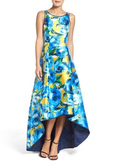 Adrianna Papell Print Mikado High/Low Gown