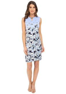 Adrianna Papell Print Scoop Neck Embellished Dress