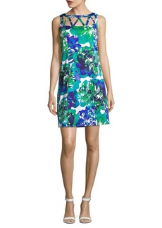 Adrianna Papell Printed Cotton Mini Dress