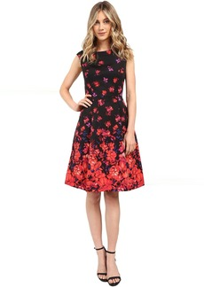 Adrianna Papell Printed Faille Fit and Flare Dress