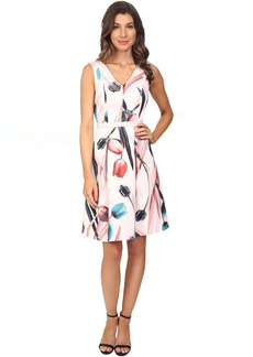 Adrianna Papell Printed Scuba Abstract Floral Fit & Flare Dress