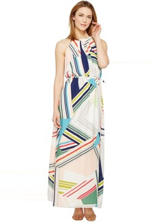 Adrianna Papell Printed Striped Maze Georgette Halter Maxi Dress