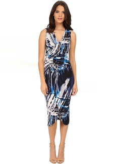 Adrianna Papell Printed V-Neck Sleeveless Rushed Dress