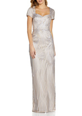 Adrianna Papell Ribbon Embroidery Column Gown