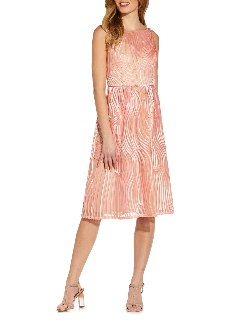 Adrianna Papell Ribbon Embroidery Sleeveless Fit & Flare Cocktail Dress
