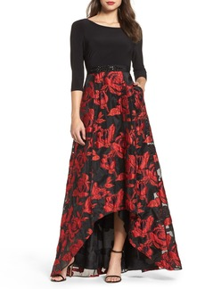 Adrianna Papell Rose Organza High/Low Maxi Dress