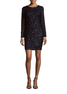 Adrianna Papell Roundneck Sequined Sheath Dress
