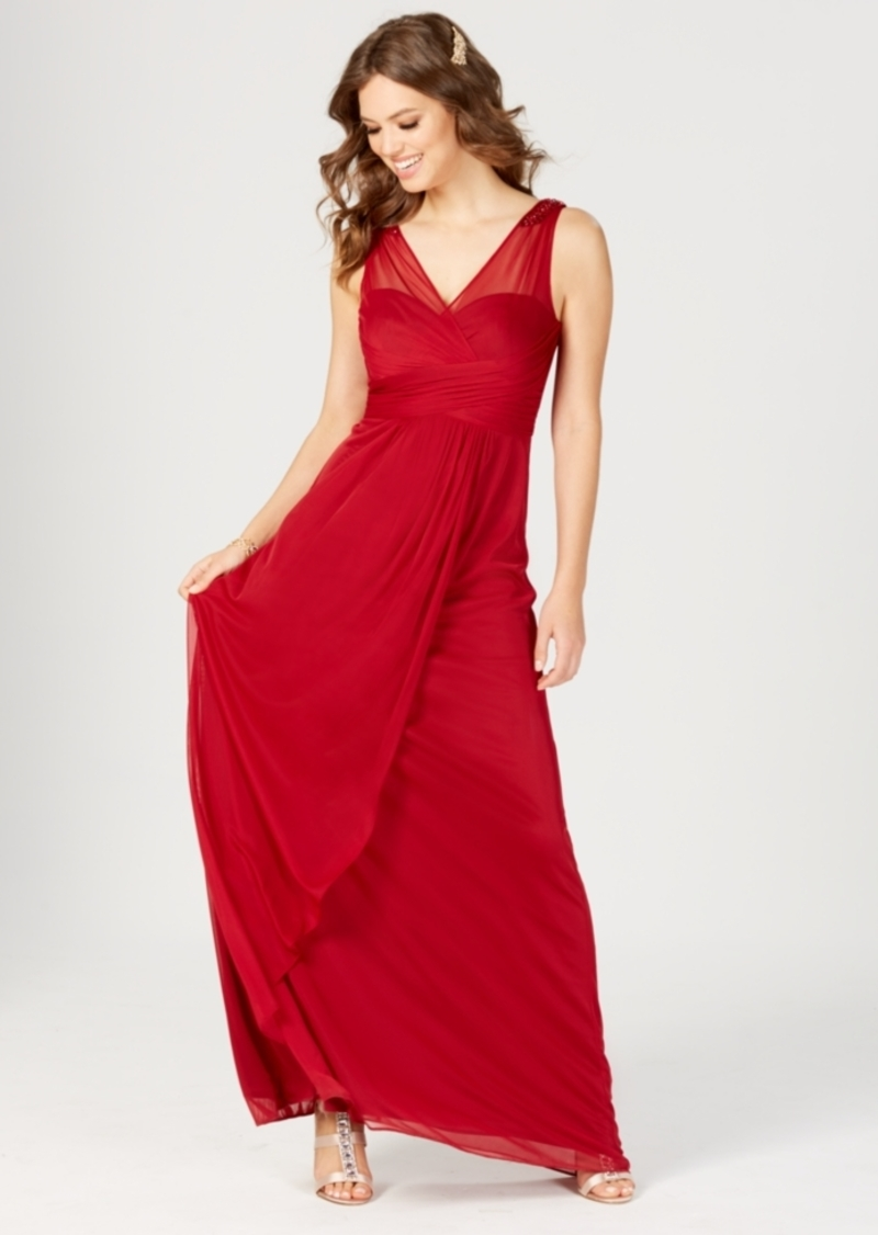 Adrianna Papell Adrianna Papell Ruched Embellished Gown
