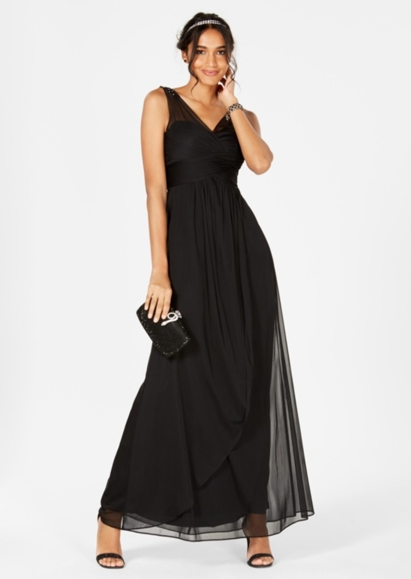 Adrianna Papell Adrianna Papell Ruched Embellished Gown Dresses
