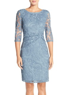 Adrianna Papell Ruched Lace Sheath Dress (Regular & Petite)