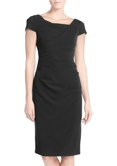 Adrianna Papell Ruched Matte Stretch Crepe Sheath Dress