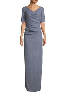 Adrianna Papell Ruched Metallic Knit Gown