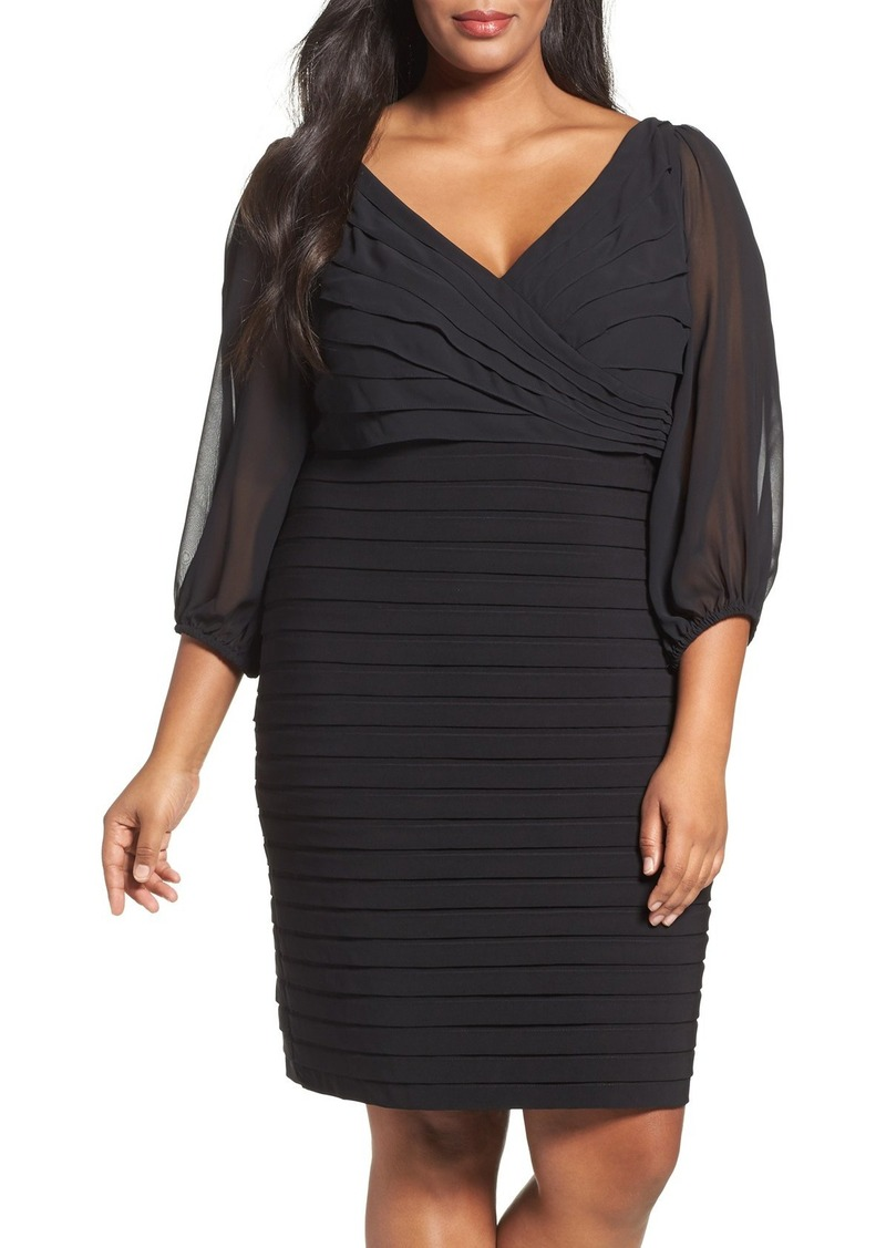 Adrianna Papell Ruffle & Shutter Pleat Sheath Dress (Plus Size)