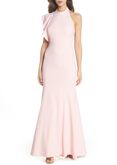 Adrianna Papell Ruffle Back Halter Gown