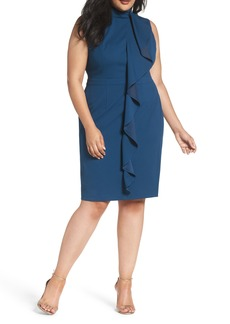 Adrianna Papell Ruffle Front Knit Crepe Sheath Dress (Plus Size)