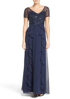 Adrianna Papell Ruffle Gown (Regular & Petite)