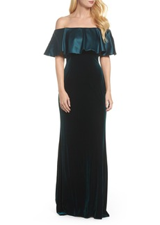 Adrianna Papell Ruffle Off the Shoulder Velvet Gown