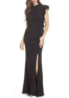 Adrianna Papell Ruffle Side Crepe Mermaid Gown (Regular & Petite)