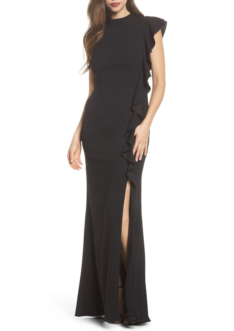 Adrianna Papell Adrianna Papell Ruffle Side Crepe Mermaid Gown ...