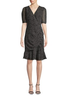 Adrianna Papell Ruffle-Trimmed Dot Sheath Dress