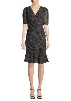 Adrianna Papell Ruffle-Trimmed Dot Sheath Dress