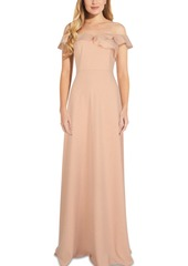 Adrianna Papell Ruffled Off-The-Shoulder Gown
