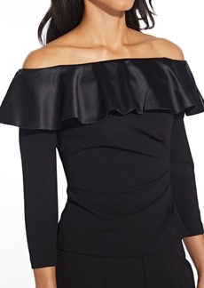 Adrianna Papell Ruffled Off-The-Shoulder Top