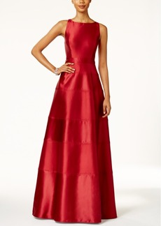 Adrianna Papell Satin Paneled Racerback Gown