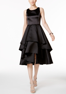 Adrianna Papell Satin Tiered Fit & Flare Dress