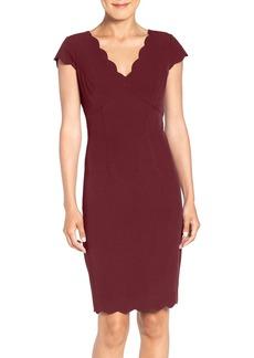 Adrianna Papell Scalloped Crepe Sheath Dress (Regular & Petite)