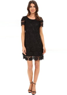 Adrianna Papell Scalloped Lace Flounce Hem Dress