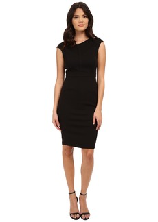 Adrianna Papell Scoop Neck Cap Sleeve Bodycon Dress Combined with Hexagon Lace