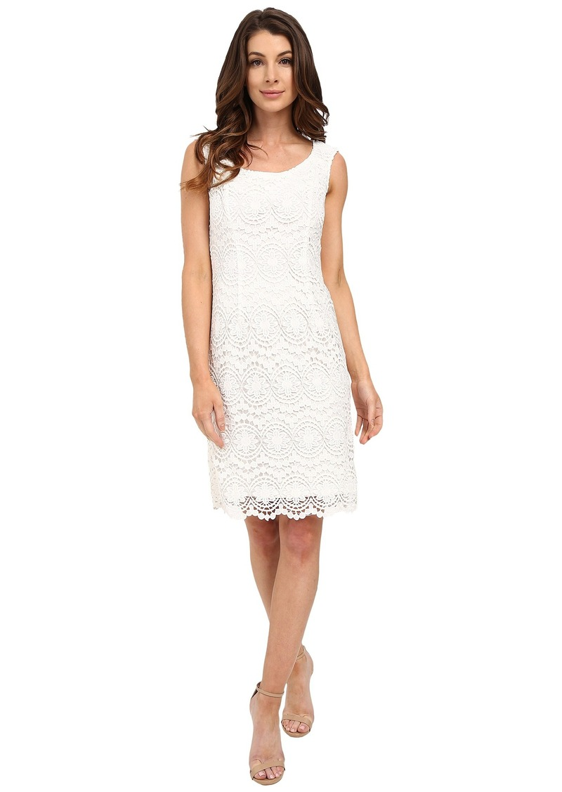 Adrianna Papell Scoop Neck Crochet Sheath Dress