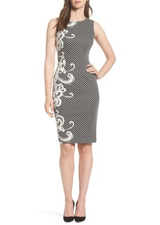 Adrianna Papell Scroll Border Knit Sheath