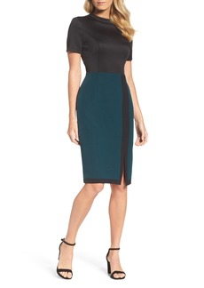 Adrianna Papell Scuba & Crepe Sheath Dress